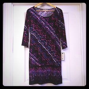 Dana Buchman Purple and Black Abstract Shift Dress